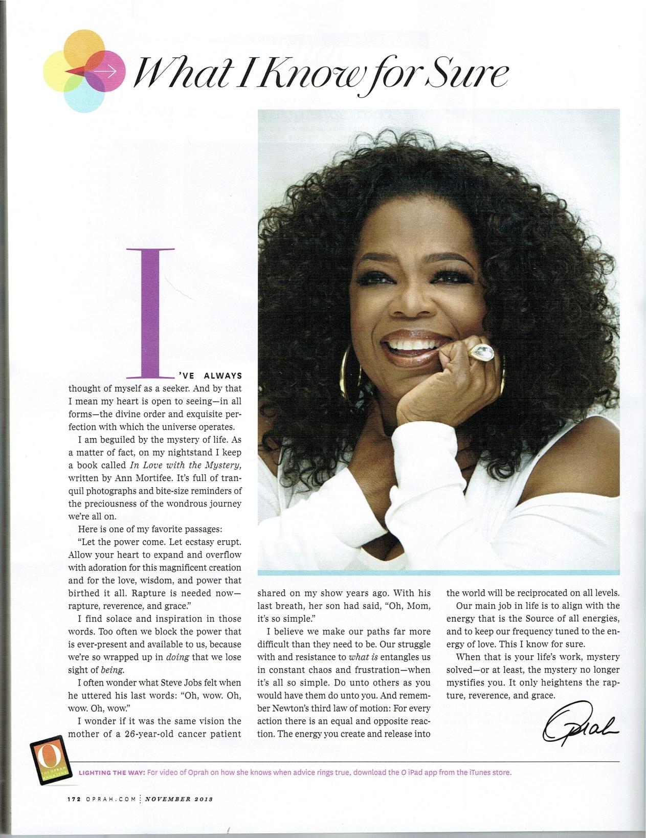 Oprah, What I Know for Sure, Nov 2013 O Magazine
