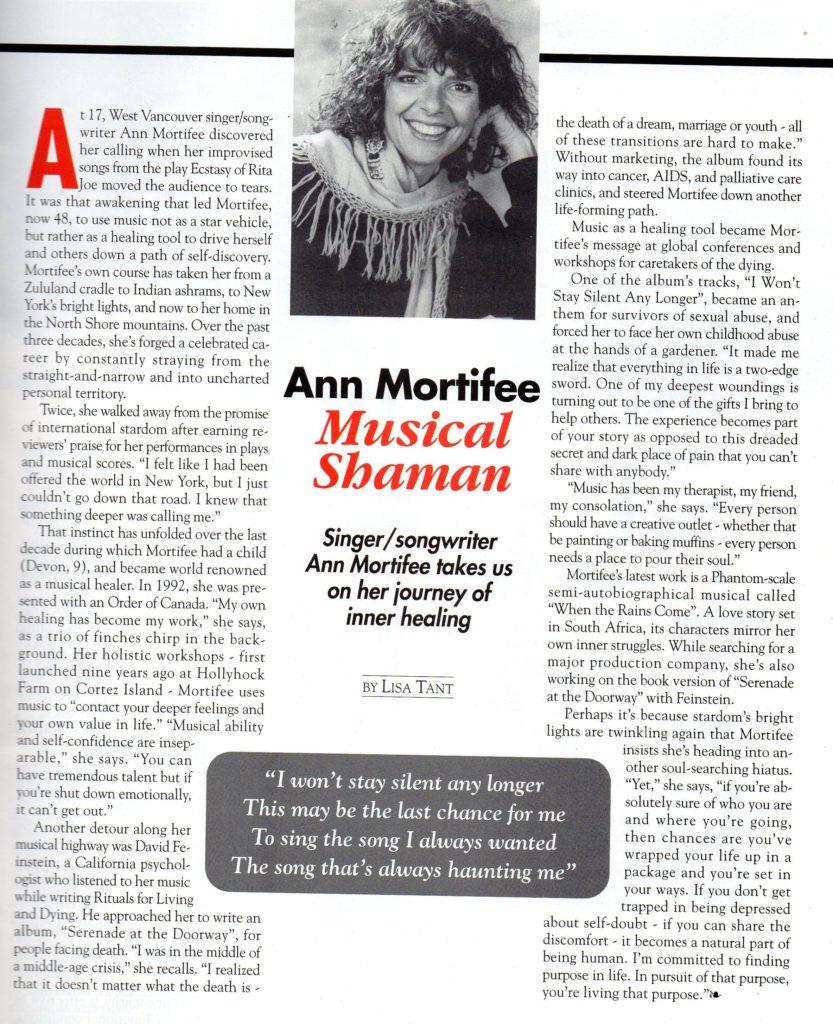 Ann Mortifee Musical Shaman